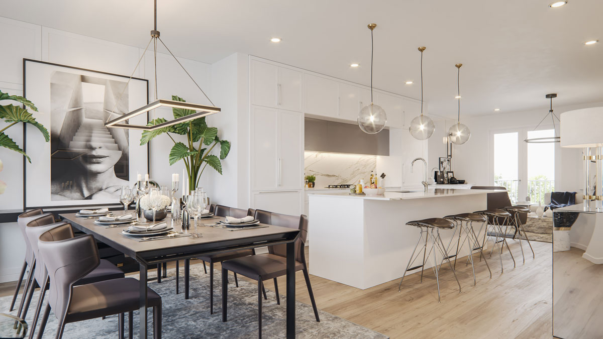 Wilshire - Townhomes Interior - Kitchen and Dining
