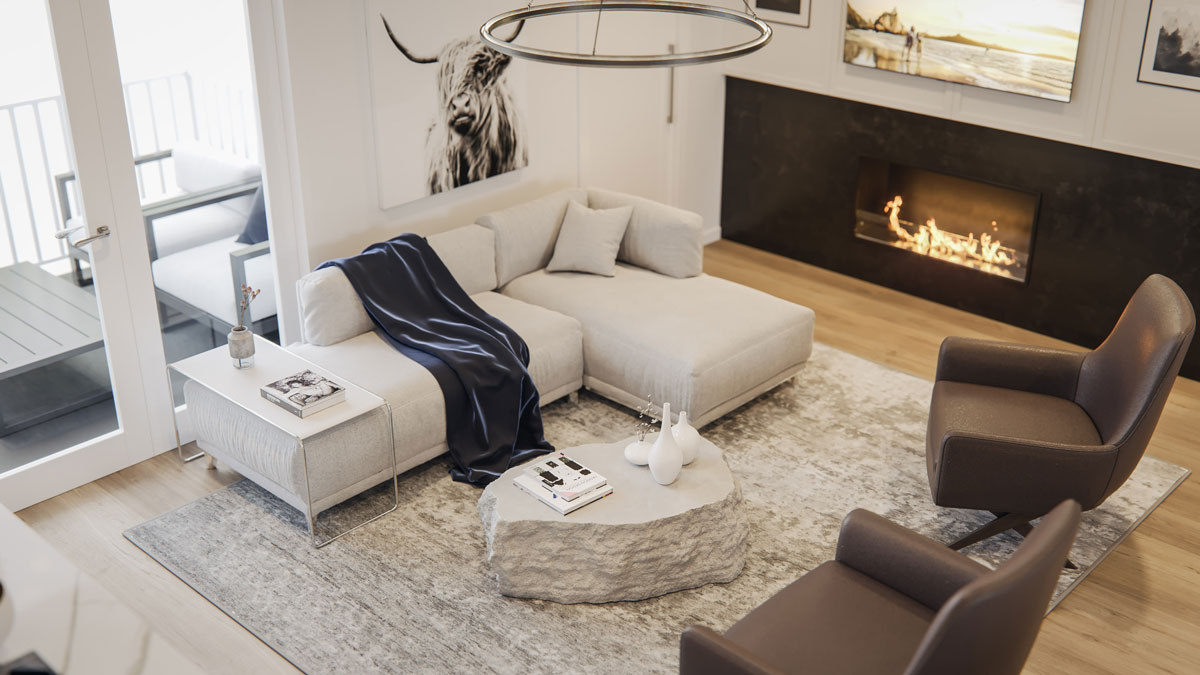 Wilshire Townhomes - Interior - Living Room